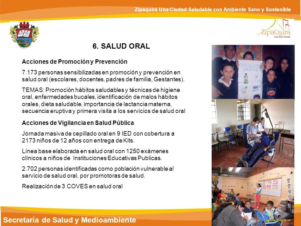 Secretaría de Salud y Medioambiente Zipaquirá Una Ciudad Saludable con Ambiente Sano y Sostenible 6. SALUD ORAL Acciones de Promoción y Prevención 7.1