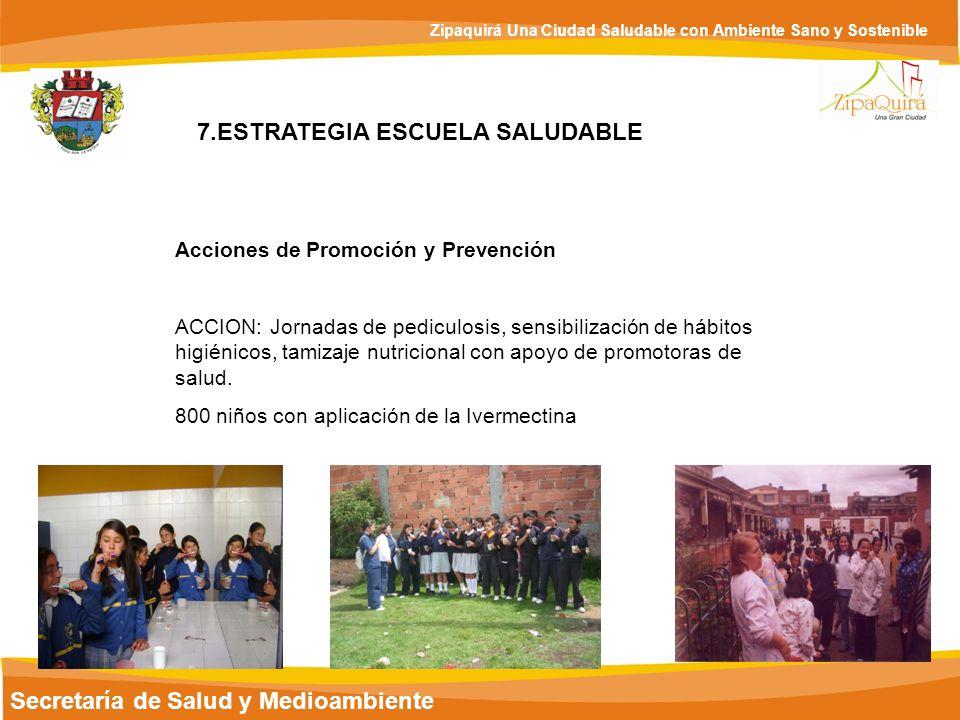Secretaría de Salud y Medioambiente Zipaquirá Una Ciudad Saludable con Ambiente Sano y Sostenible 7.ESTRATEGIA ESCUELA SALUDABLE Acciones de Promoción
