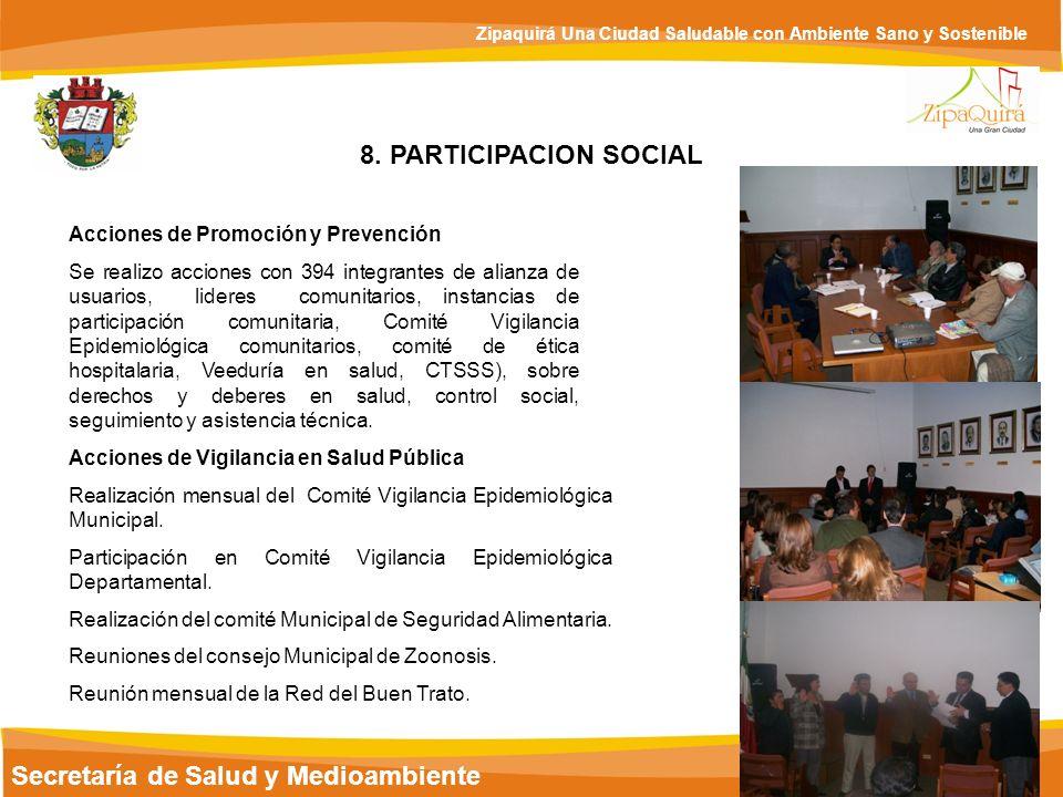 Secretaría de Salud y Medioambiente Zipaquirá Una Ciudad Saludable con Ambiente Sano y Sostenible 8. PARTICIPACION SOCIAL Acciones de Promoción y Prev