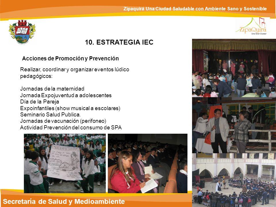 Secretaría de Salud y Medioambiente Zipaquirá Una Ciudad Saludable con Ambiente Sano y Sostenible 10. ESTRATEGIA IEC Acciones de Promoción y Prevenció