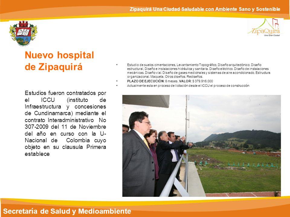Secretaría de Salud y Medioambiente Zipaquirá Una Ciudad Saludable con Ambiente Sano y Sostenible Estudio de suelos cimentaciones, Levantamiento Topog