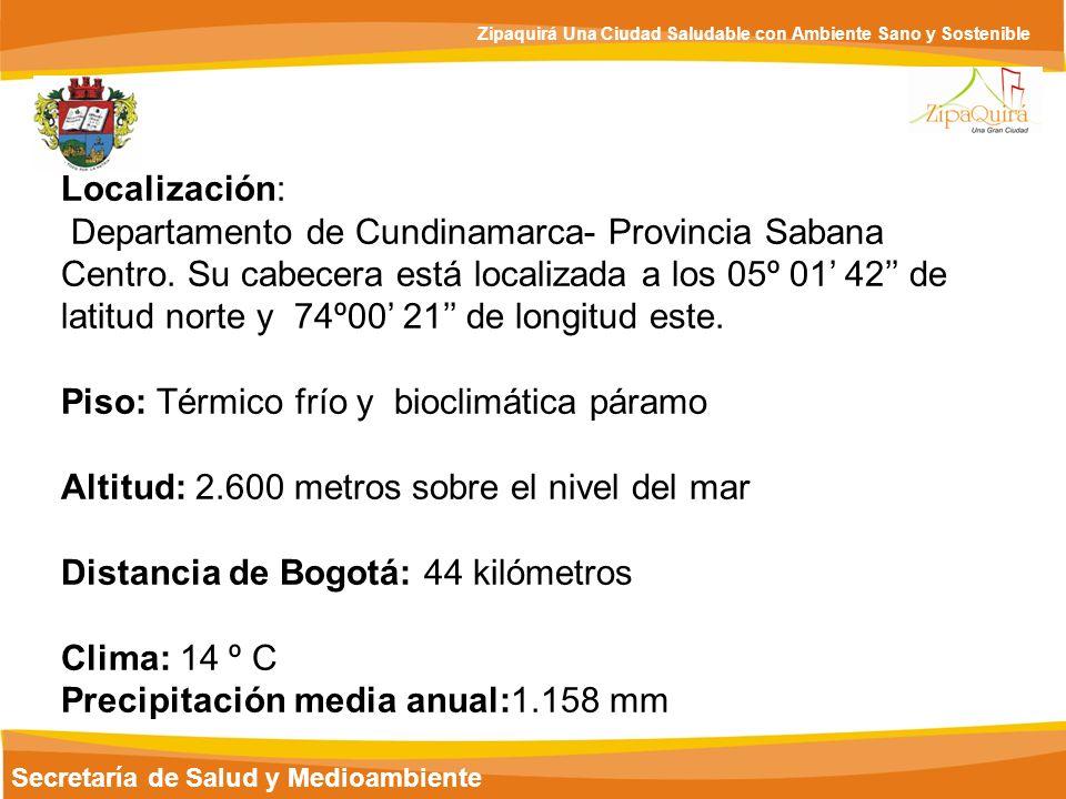 Secretaría de Salud y Medioambiente Zipaquirá Una Ciudad Saludable con Ambiente Sano y Sostenible Extensión Total: 197 km² Extensión Área Urbana: 8 km² Extensión Área Rural: 189 km² Población total: 110,003 habitantes proyecciones (DANE 2005) Población urbana: 87.232 (DANE 2005) Población rural: 12.806 (DANE 2005) Fuente.