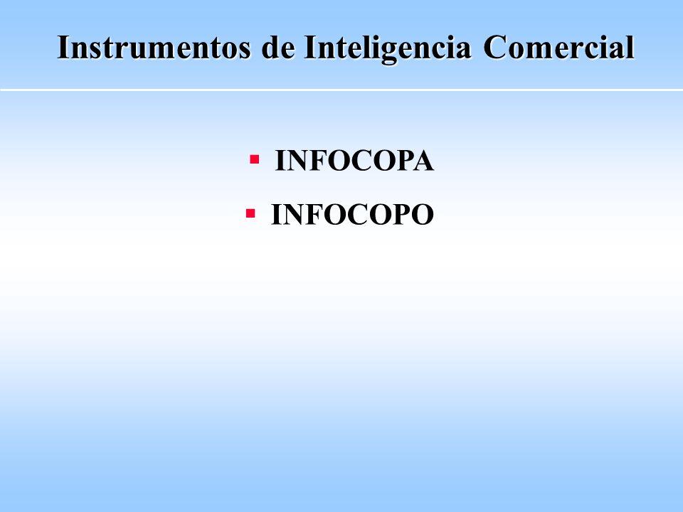 Instrumentos de Inteligencia Comercial Objetivos Apoyar el desarrollo del proceso exportador Internacionalizar empresas Potenciar la salida exportadora sectorial a través de Cámaras y Entidades vinculadas al Sector Productivo Diversificar rubros de exportación Impulsar el desarrollo de nuevos mercados