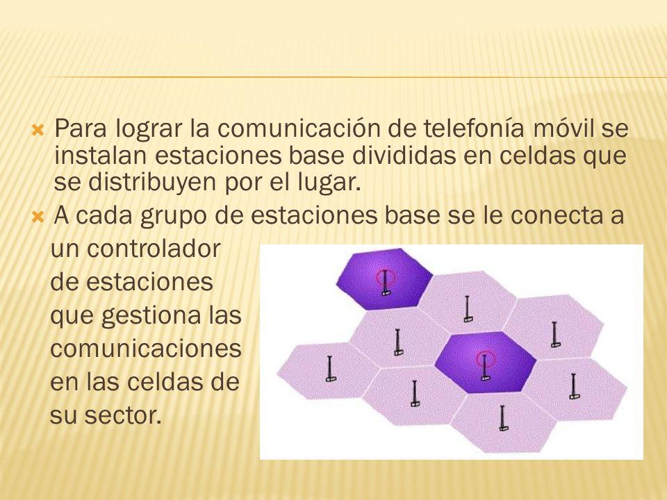 Para lograr la comunicación de telefonía móvil se instalan estaciones base divididas en celdas que se distribuyen por el lugar. A cada grupo de estaci
