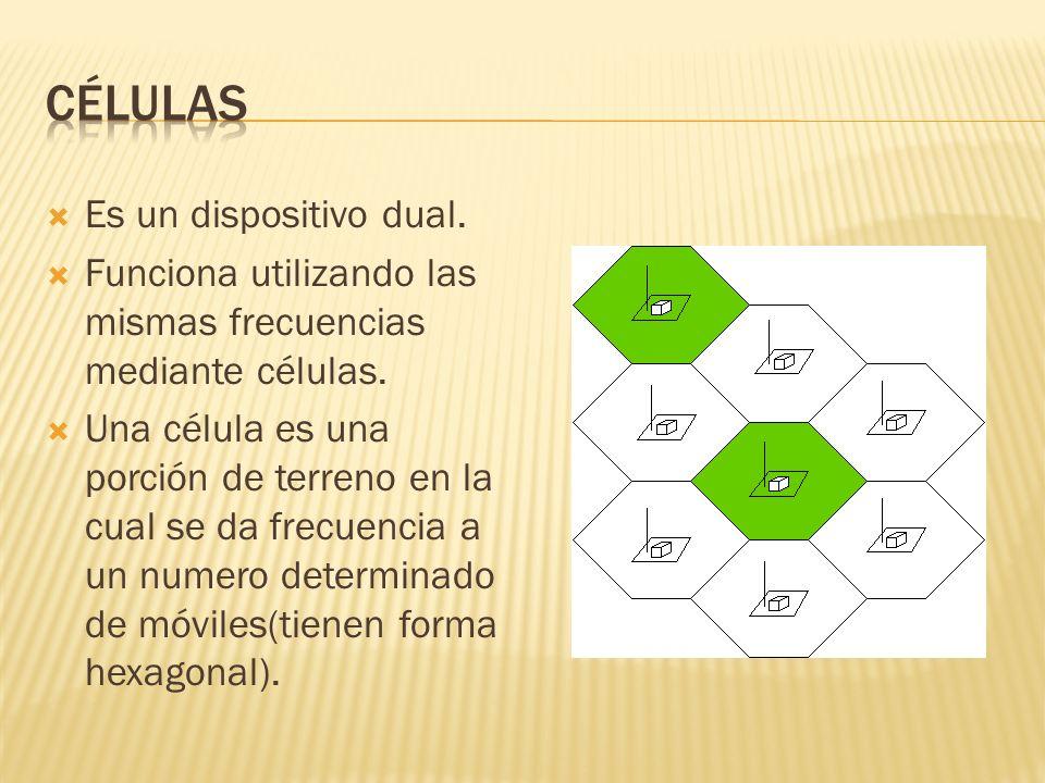 Es un dispositivo dual. Funciona utilizando las mismas frecuencias mediante células. Una célula es una porción de terreno en la cual se da frecuencia