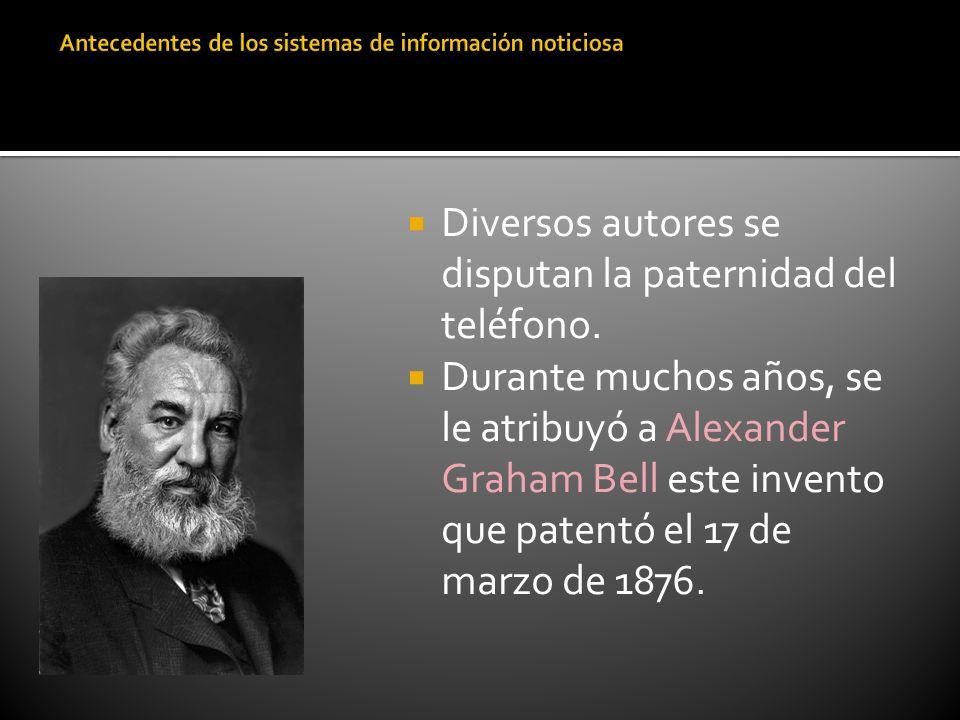 Diversos autores se disputan la paternidad del teléfono. Durante muchos años, se le atribuyó a Alexander Graham Bell este invento que patentó el 17 de