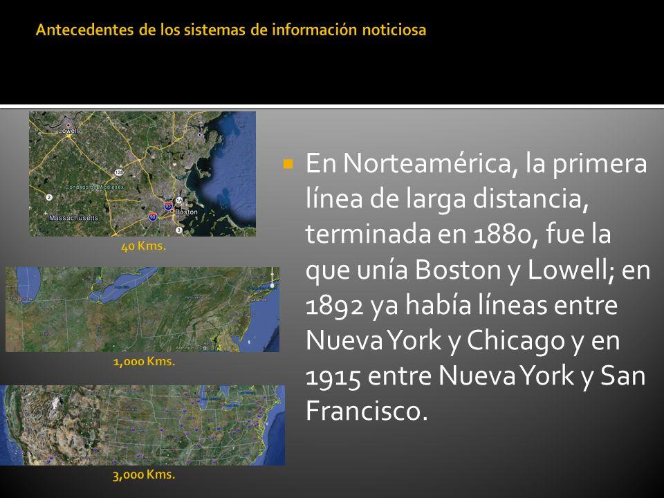 En Norteamérica, la primera línea de larga distancia, terminada en 1880, fue la que unía Boston y Lowell; en 1892 ya había líneas entre Nueva York y C