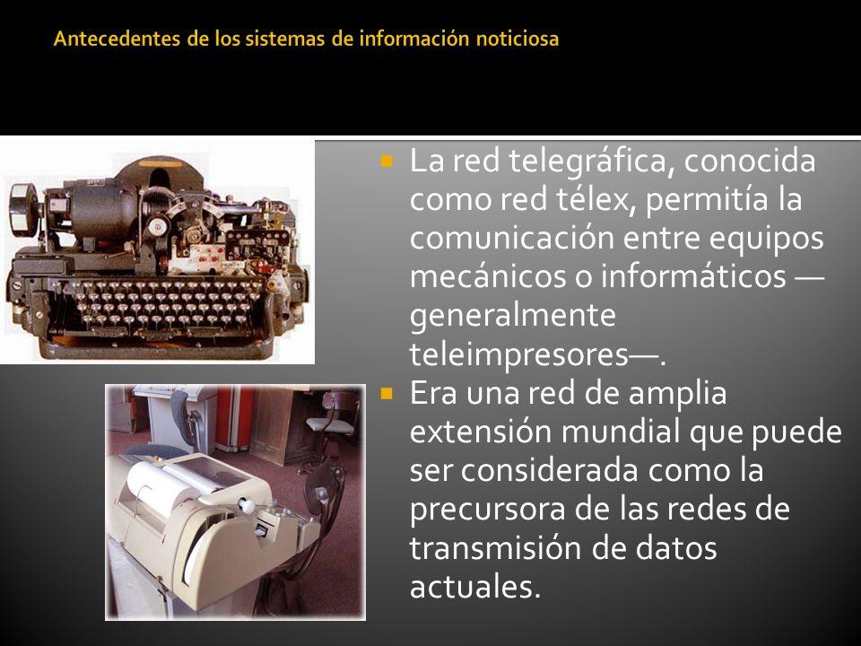La red telegráfica, conocida como red télex, permitía la comunicación entre equipos mecánicos o informáticos generalmente teleimpresores. Era una red