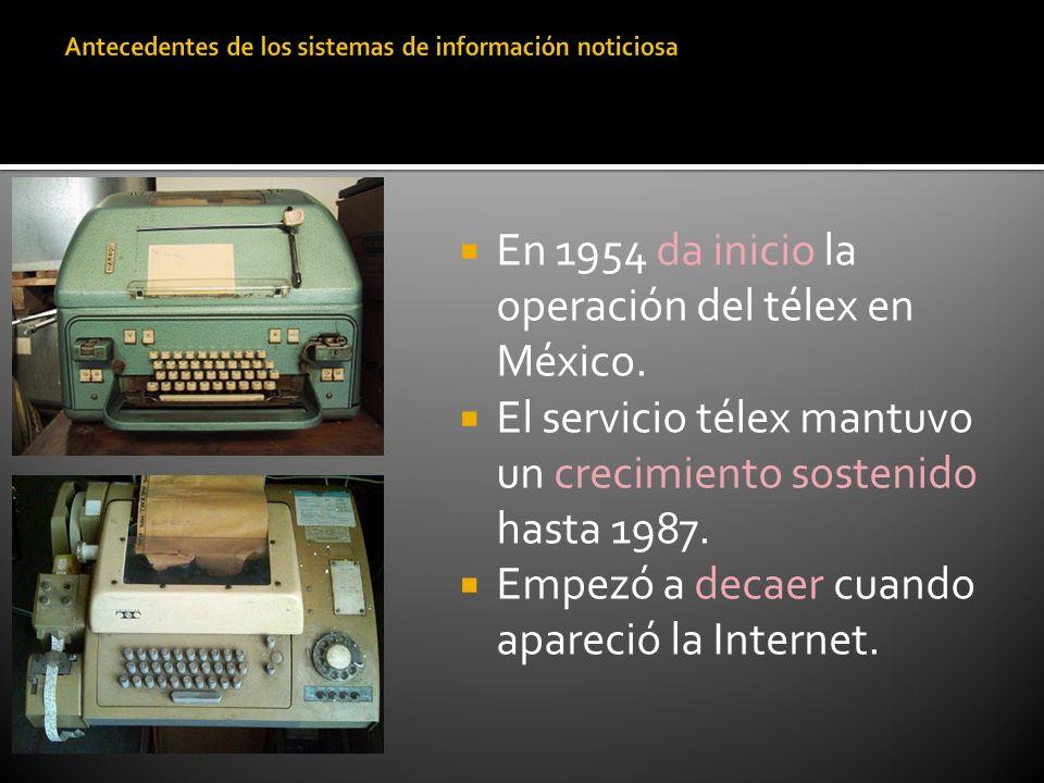 En 1954 da inicio la operación del télex en México. El servicio télex mantuvo un crecimiento sostenido hasta 1987. Empezó a decaer cuando apareció la