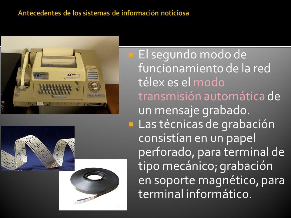 El segundo modo de funcionamiento de la red télex es el modo transmisión automática de un mensaje grabado. Las técnicas de grabación consistían en un