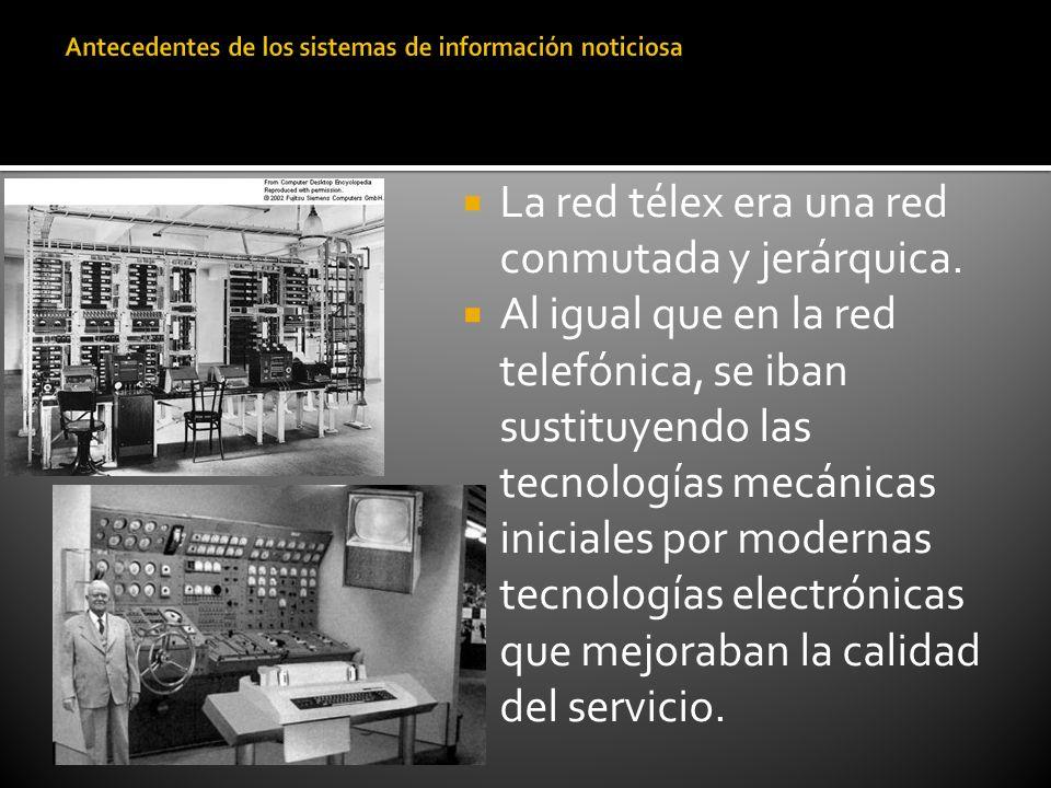 La red télex era una red conmutada y jerárquica. Al igual que en la red telefónica, se iban sustituyendo las tecnologías mecánicas iniciales por moder