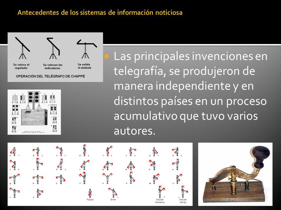 Las principales invenciones en telegrafía, se produjeron de manera independiente y en distintos países en un proceso acumulativo que tuvo varios autor