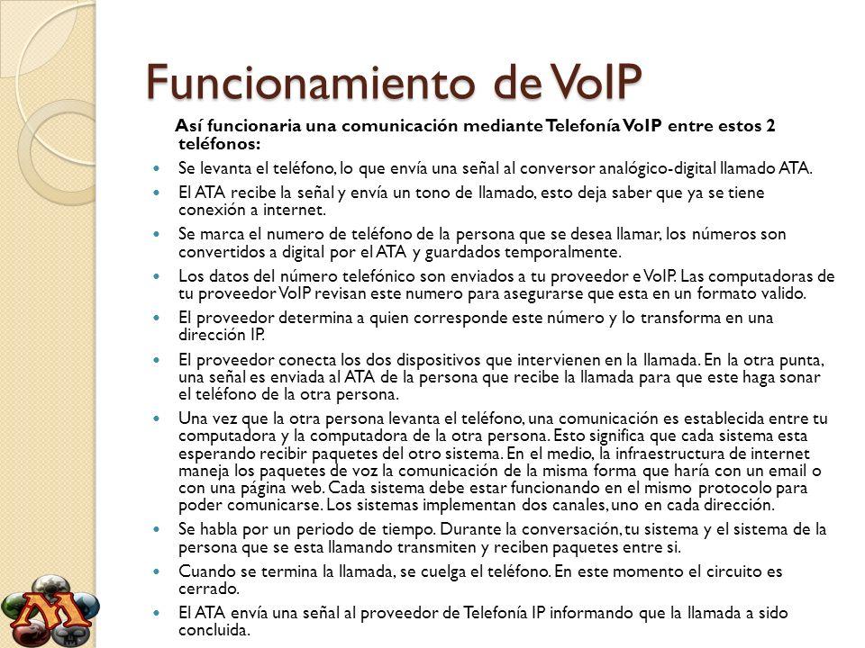 Funcionamiento de VoIP Así funcionaria una comunicación mediante Telefonía VoIP entre estos 2 teléfonos: Se levanta el teléfono, lo que envía una seña