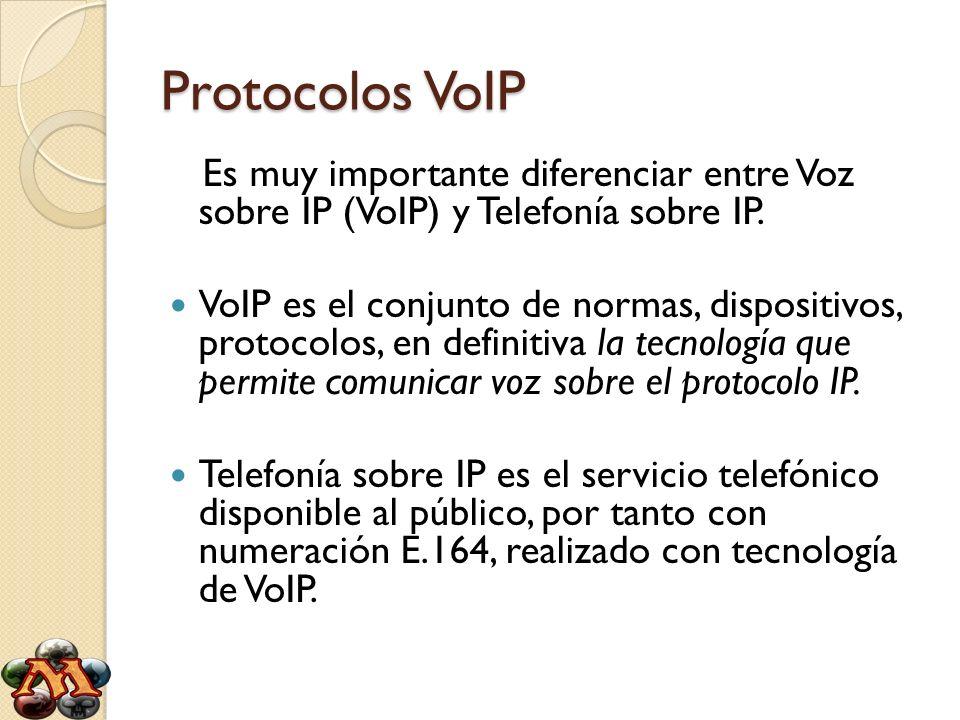 Protocolos VoIP Es muy importante diferenciar entre Voz sobre IP (VoIP) y Telefonía sobre IP. VoIP es el conjunto de normas, dispositivos, protocolos,