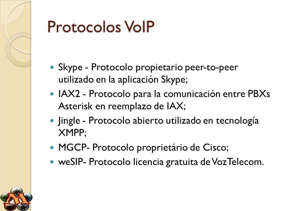 Protocolos VoIP Skype - Protocolo propietario peer-to-peer utilizado en la aplicación Skype; IAX2 - Protocolo para la comunicación entre PBXs Asterisk
