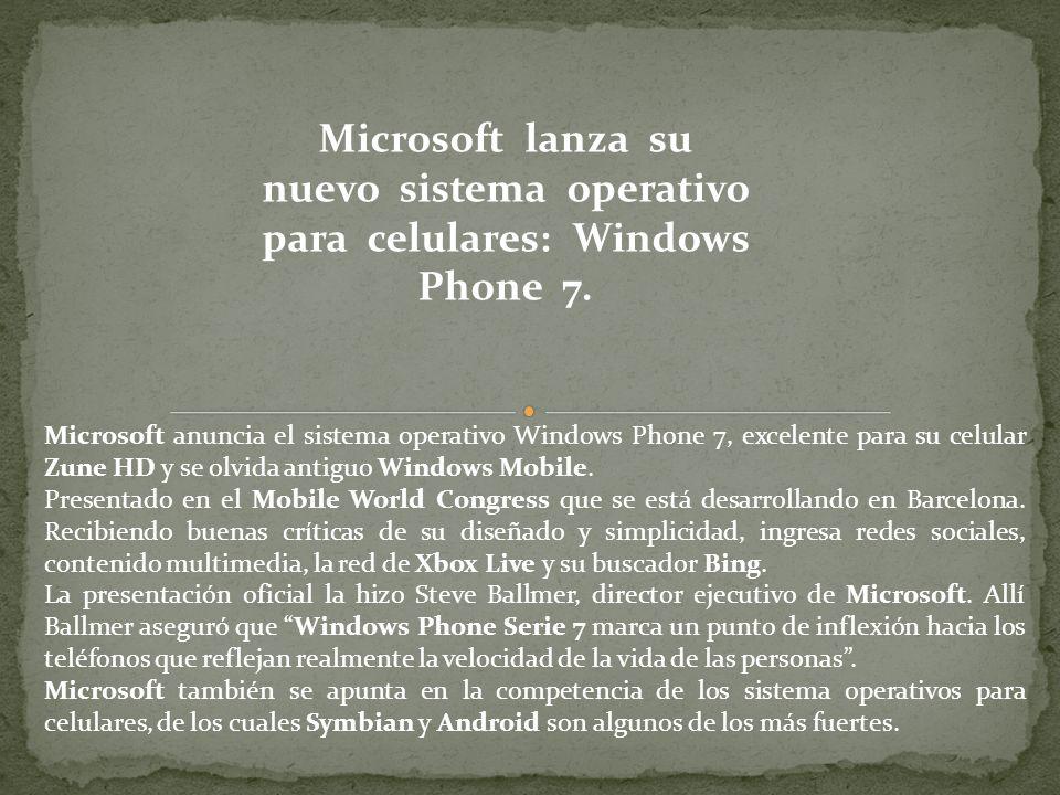 Microsoft lanza su nuevo sistema operativo para celulares: Windows Phone 7.