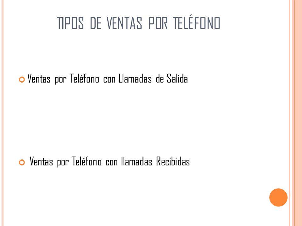TIPOS DE VENTAS POR TELÉFONO Ventas por Teléfono con Llamadas de Salida Ventas por Teléfono con llamadas Recibidas