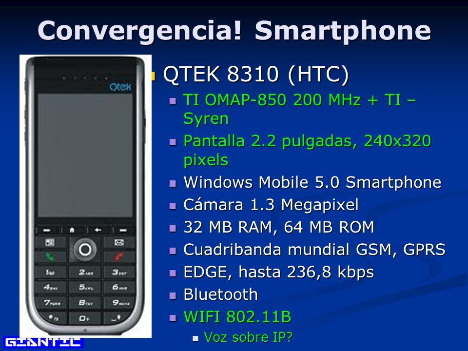 Convergencia! Smartphone QTEK 8310 (HTC) QTEK 8310 (HTC) TI OMAP-850 200 MHz + TI – Syren TI OMAP-850 200 MHz + TI – Syren Pantalla 2.2 pulgadas, 240x