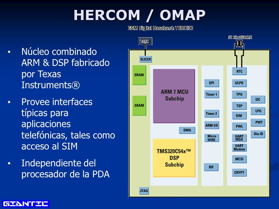 HERCOM / OMAP Núcleo combinado ARM & DSP fabricado por Texas Instruments® Provee interfaces típicas para aplicaciones telefónicas, tales como acceso al SIM Independiente del procesador de la PDA