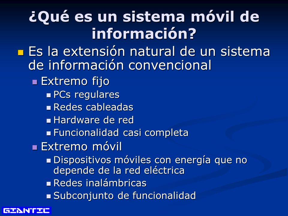 ¿Qué es un sistema móvil de información? Es la extensión natural de un sistema de información convencional Es la extensión natural de un sistema de in