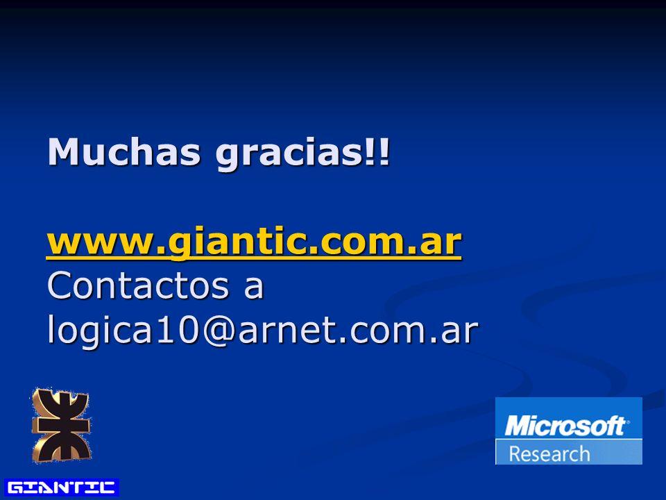 Muchas gracias!! www.giantic.com.ar Contactos a logica10@arnet.com.ar www.giantic.com.ar