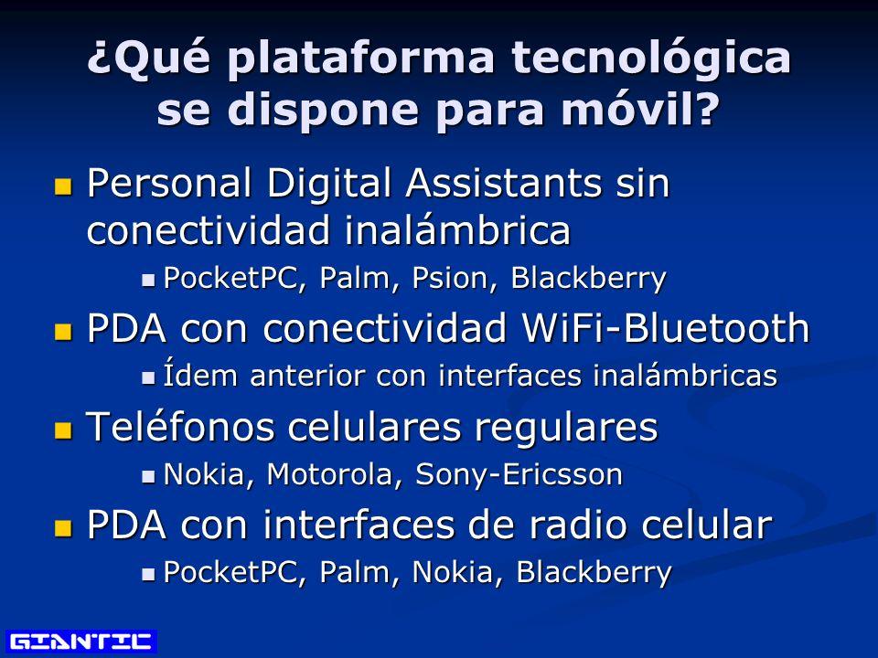 ¿Qué plataforma tecnológica se dispone para móvil? Personal Digital Assistants sin conectividad inalámbrica Personal Digital Assistants sin conectivid