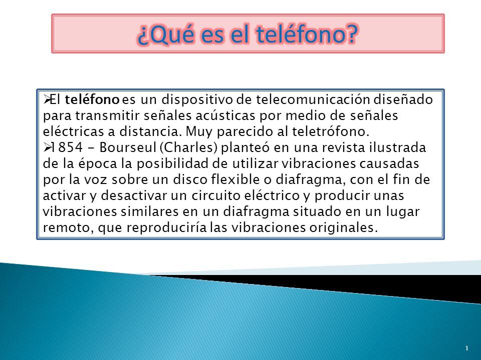 El teléfono es un dispositivo de telecomunicación diseñado para transmitir señales acústicas por medio de señales eléctricas a distancia. Muy parecido