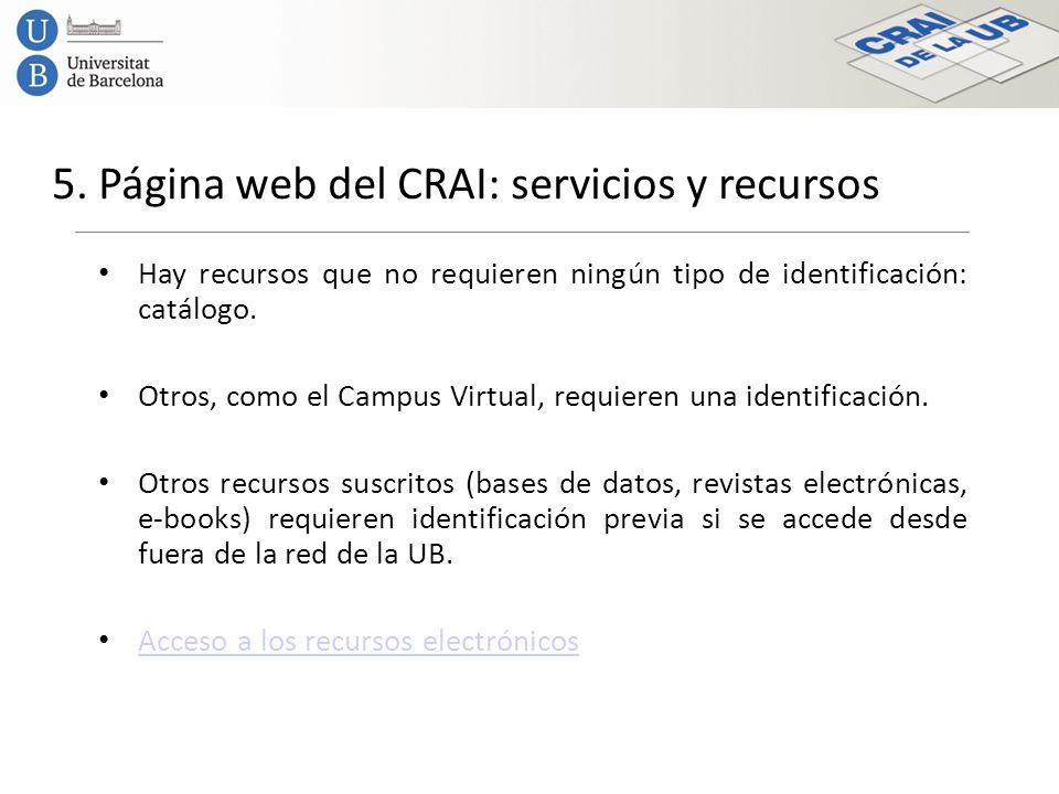 5. Página web del CRAI: servicios y recursos Hay recursos que no requieren ningún tipo de identificación: catálogo. Otros, como el Campus Virtual, req
