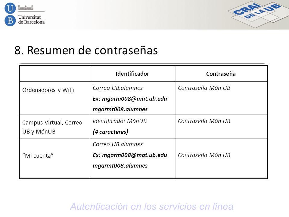 8. Resumen de contraseñas Autenticación en los servicios en línea IdentificadorContraseña Ordenadores y WiFi Correo UB.alumnes Ex: mgarm008@mat.ub.edu
