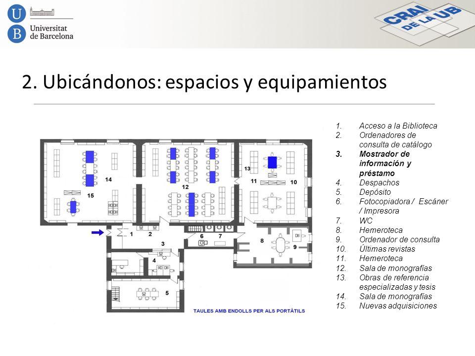 2. Ubicándonos: espacios y equipamientos 1.Acceso a la Biblioteca 2.Ordenadores de consulta de catálogo 3.Mostrador de información y préstamo 4.Despac