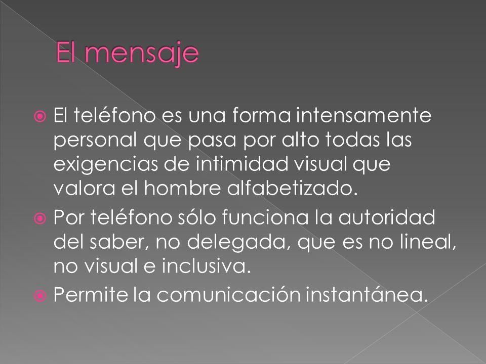 El teléfono es una forma intensamente personal que pasa por alto todas las exigencias de intimidad visual que valora el hombre alfabetizado. Por teléf