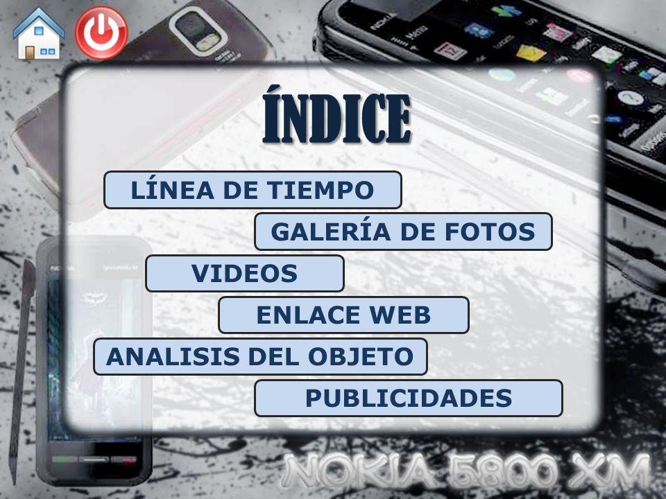 ÍNDICE LÍNEA DE TIEMPO GALERÍA DE FOTOS VIDEOS ENLACE WEB ANALISIS DEL OBJETO PUBLICIDADES