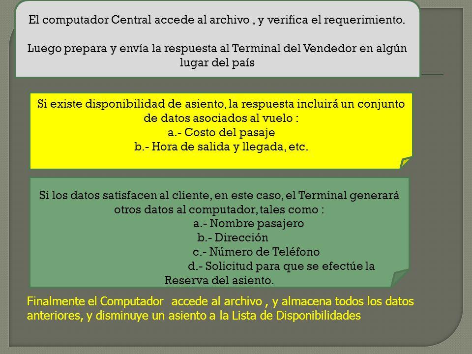 2.4. EJEMPLO SISTEMA DE COMUNICACIONES DE DATOS SISTEMA DE RESERVAS DE LINEAS AEREAS. En un sistema de reserva, debe mantenerse un archivo de cada vue