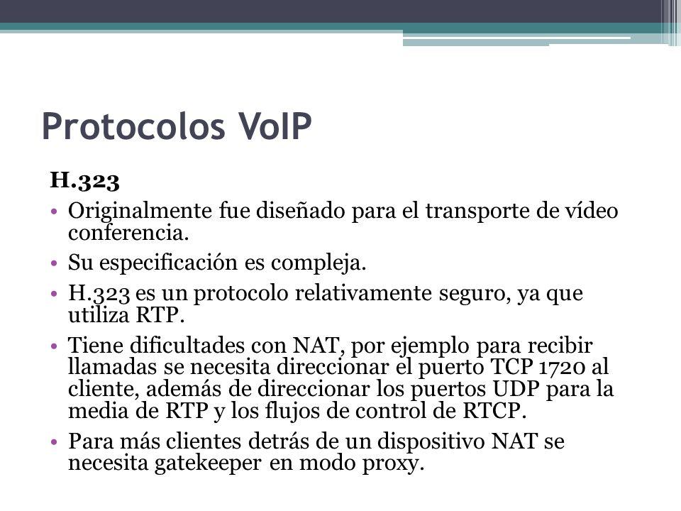 Protocolos VoIP H.323 Originalmente fue diseñado para el transporte de vídeo conferencia. Su especificación es compleja. H.323 es un protocolo relativ