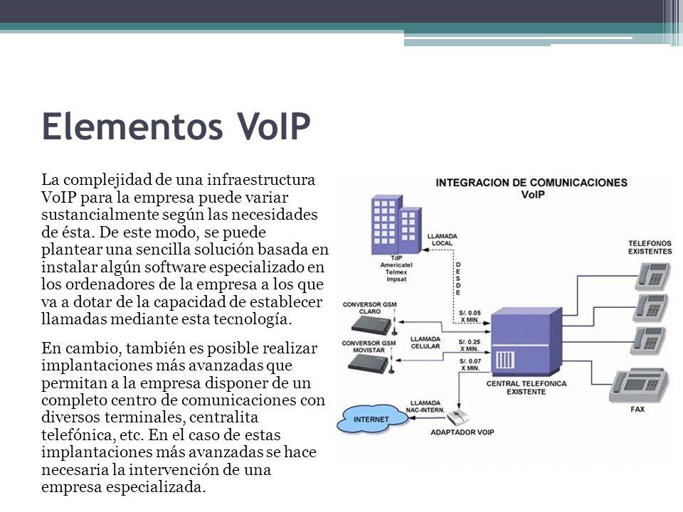 Elementos VoIP La complejidad de una infraestructura VoIP para la empresa puede variar sustancialmente según las necesidades de ésta. De este modo, se