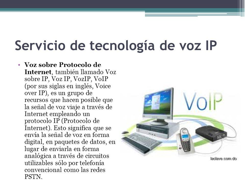 Servicio de tecnología de voz IP Voz sobre Protocolo de Internet, también llamado Voz sobre IP, Voz IP, VozIP, VoIP (por sus siglas en inglés, Voice o