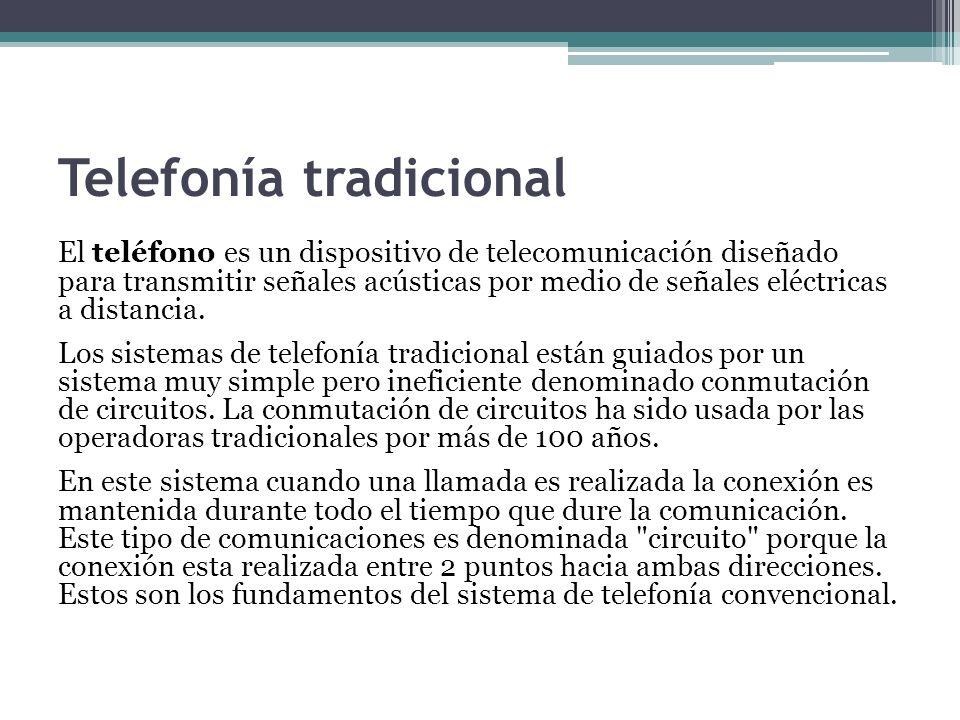 Telefonía tradicional El teléfono es un dispositivo de telecomunicación diseñado para transmitir señales acústicas por medio de señales eléctricas a d