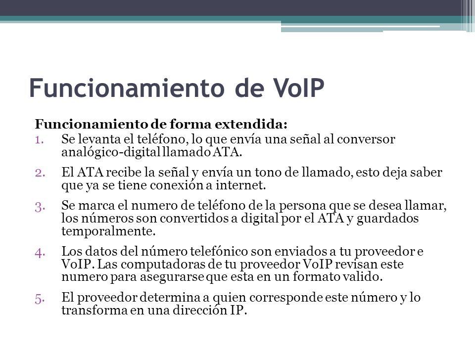 Funcionamiento de VoIP Funcionamiento de forma extendida: 1.Se levanta el teléfono, lo que envía una señal al conversor analógico-digital llamado ATA.