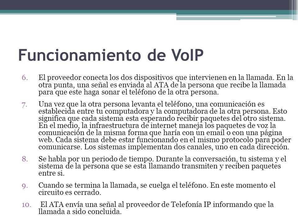 Funcionamiento de VoIP 6.El proveedor conecta los dos dispositivos que intervienen en la llamada. En la otra punta, una señal es enviada al ATA de la