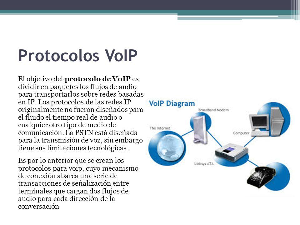 Protocolos VoIP El objetivo del protocolo de VoIP es dividir en paquetes los flujos de audio para transportarlos sobre redes basadas en IP. Los protoc