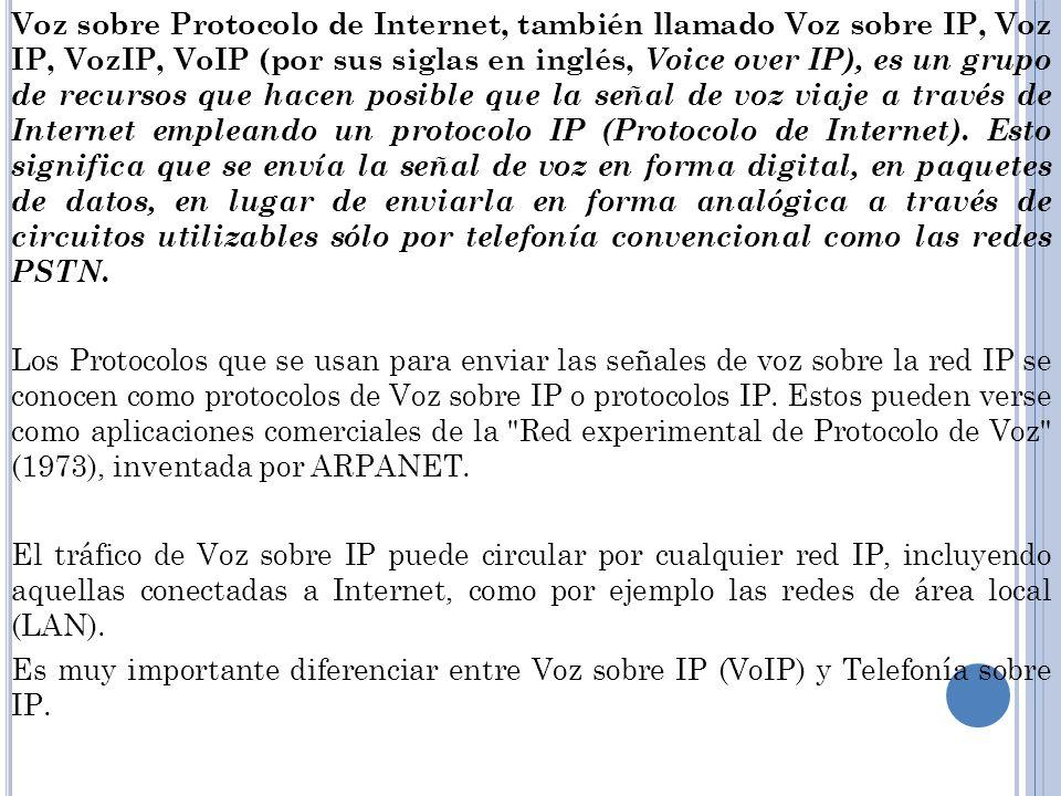 Voz sobre Protocolo de Internet, también llamado Voz sobre IP, Voz IP, VozIP, VoIP (por sus siglas en inglés, Voice over IP), es un grupo de recursos