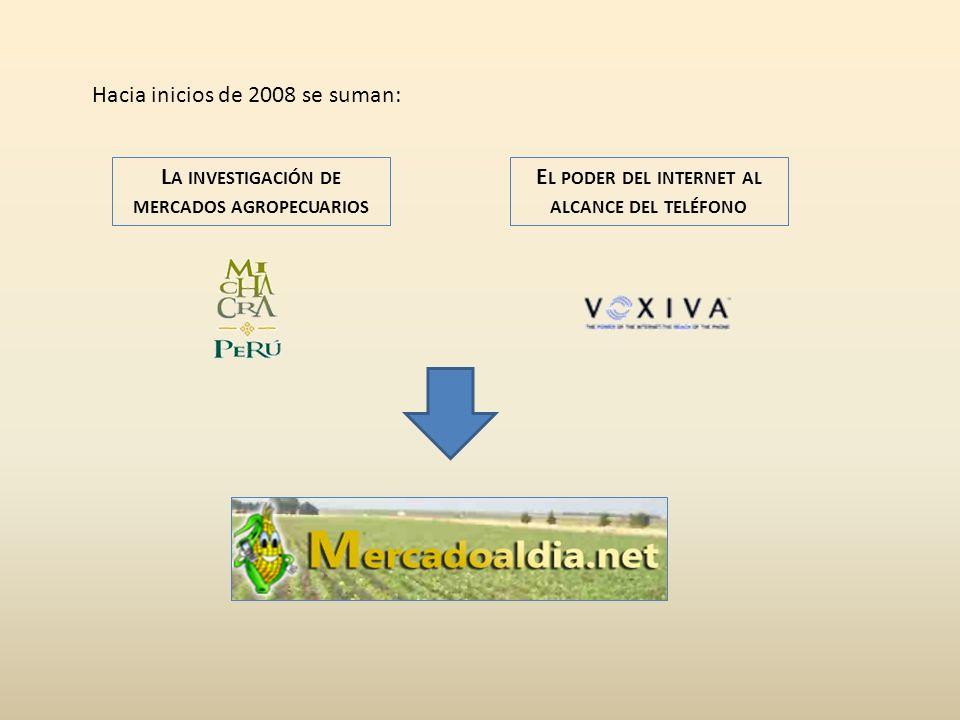 L A INVESTIGACIÓN DE MERCADOS AGROPECUARIOS Hacia inicios de 2008 se suman: E L PODER DEL INTERNET AL ALCANCE DEL TELÉFONO