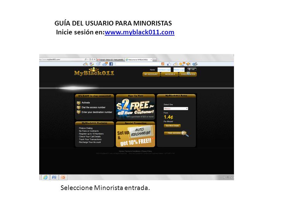 Introduzca nombre de usuario y contraseña y seleccionar MyBlack011