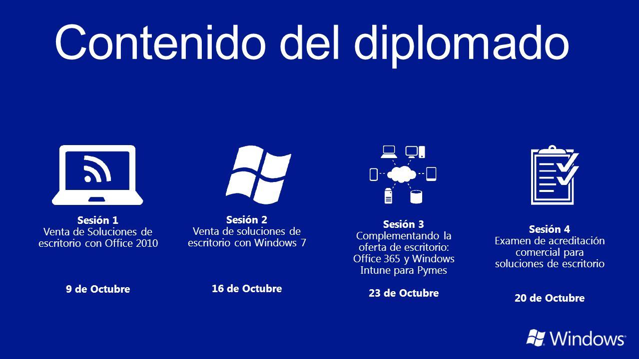 Sesión 1 Venta de Soluciones de escritorio con Office 2010 9 de Octubre Sesión 2 Venta de soluciones de escritorio con Windows 7 16 de Octubre Sesión 3 Complementando la oferta de escritorio: Office 365 y Windows Intune para Pymes 23 de Octubre Sesión 4 Examen de acreditación comercial para soluciones de escritorio 20 de Octubre