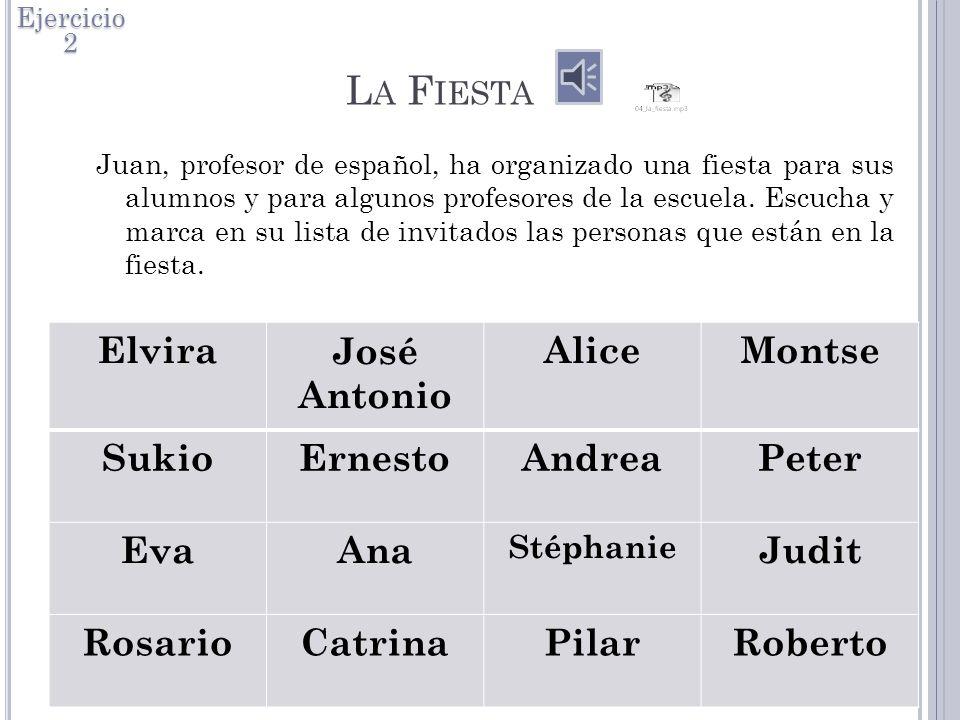 L A F IESTA Juan, profesor de español, ha organizado una fiesta para sus alumnos y para algunos profesores de la escuela.
