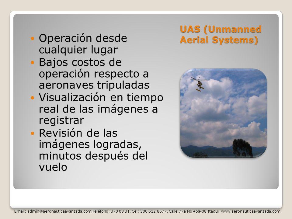 UAS (Unmanned Aerial Systems) Operación desde cualquier lugar Bajos costos de operación respecto a aeronaves tripuladas Visualización en tiempo real d