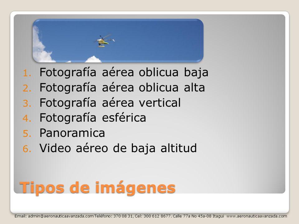 Tipos de imágenes 1. Fotografía aérea oblicua baja 2. Fotografía aérea oblicua alta 3. Fotografía aérea vertical 4. Fotografía esférica 5. Panoramica