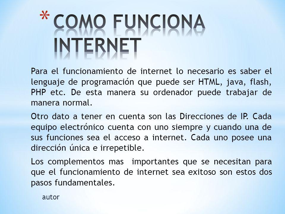 Para el funcionamiento de internet lo necesario es saber el lenguaje de programación que puede ser HTML, java, flash, PHP etc.