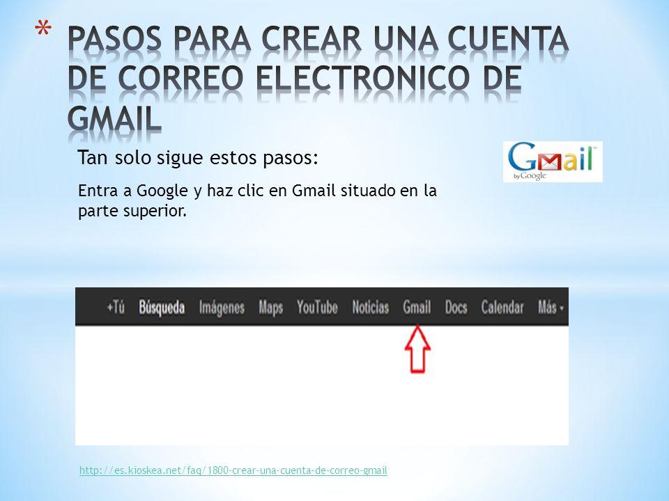 Tan solo sigue estos pasos: Entra a Google y haz clic en Gmail situado en la parte superior. http://es.kioskea.net/faq/1800-crear-una-cuenta-de-correo