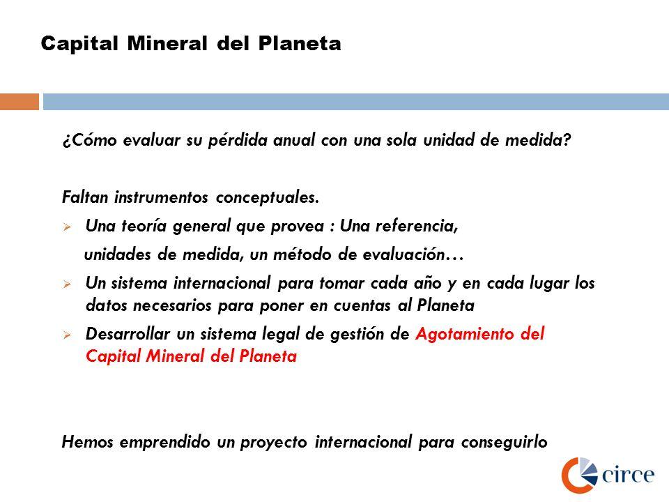Capital Mineral del Planeta ¿Cómo evaluar su pérdida anual con una sola unidad de medida? Faltan instrumentos conceptuales. Una teoría general que pro